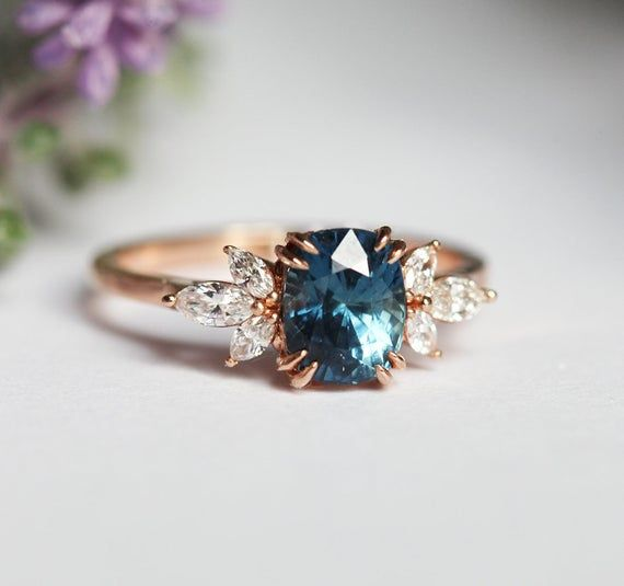 Blue Sapphire Engagement Ring Rose Gold, Blue Cushion Sapphire and Diamond Ring, Unique Blue Engagement Ring