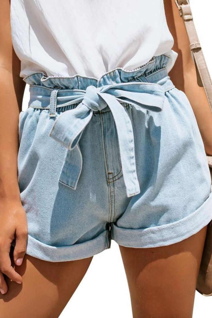 Light Blue High-Waist Belted Denim Shorts
