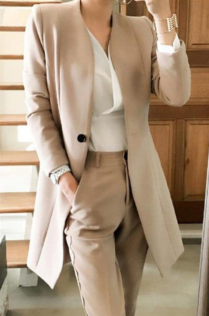 Women's Jacket and Pants Suit 2pcs/set Korean Style Uniform V-neck Long Elegant for Autumn Business Office