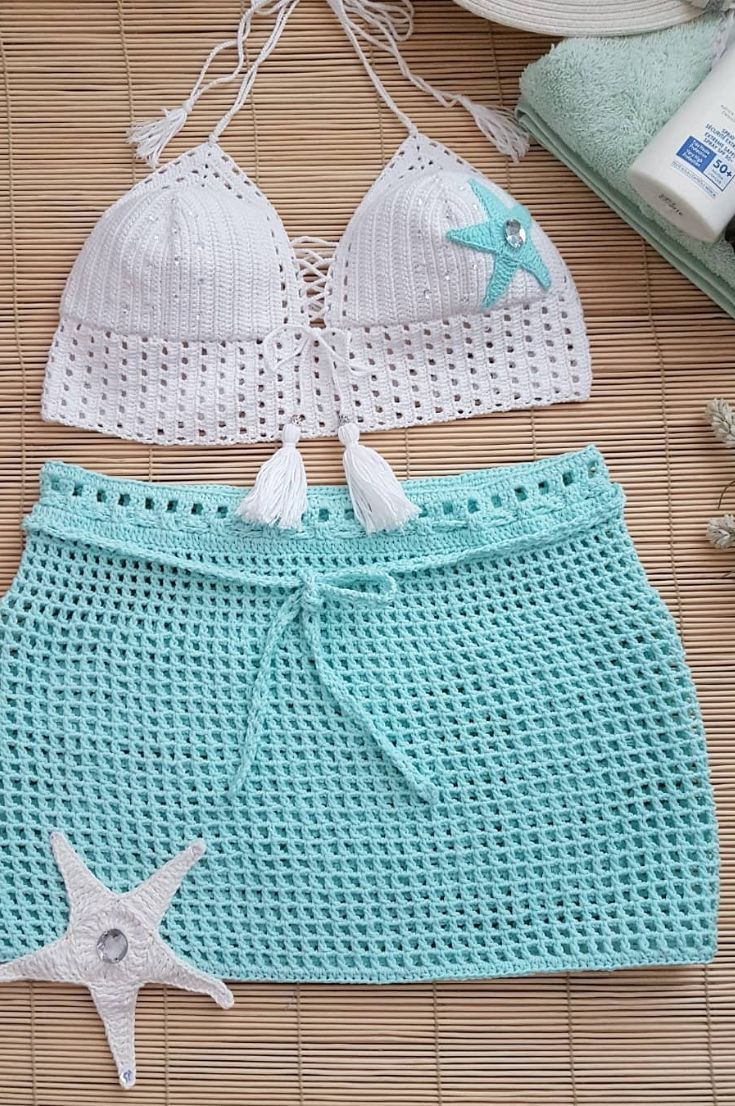 40+ Free Summer Crocheted Swimwear- Best Crochet Bikini Bottom and Upper Models 2019