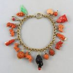 15K Red and Salmon Carved Coral Loaded Charm Bracelet 12K to18K Gold Charms