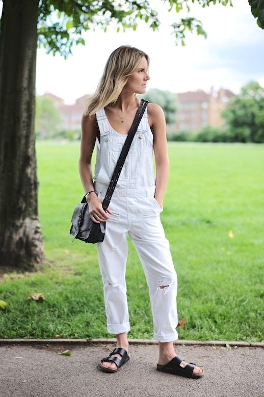 17 Ways To Wear White Overalls: Lucy Williams // cross body bag & Birkenstock sa…