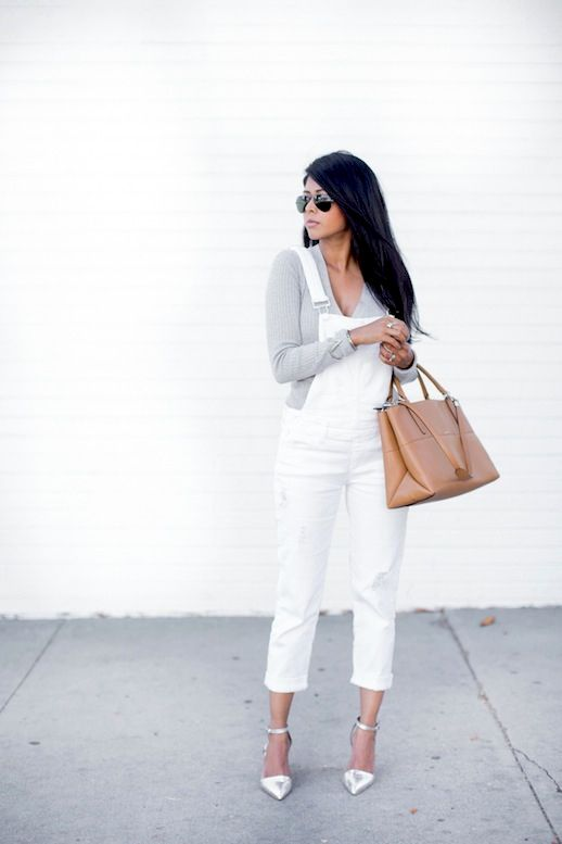 17 Ways To Wear White Overalls // grey tee, nude bag & silver metallic heels #st…