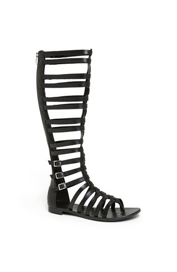 $178, Black Leather Knee High Gladiator Sandals: Vince Camuto Jamon Knee High Gl…