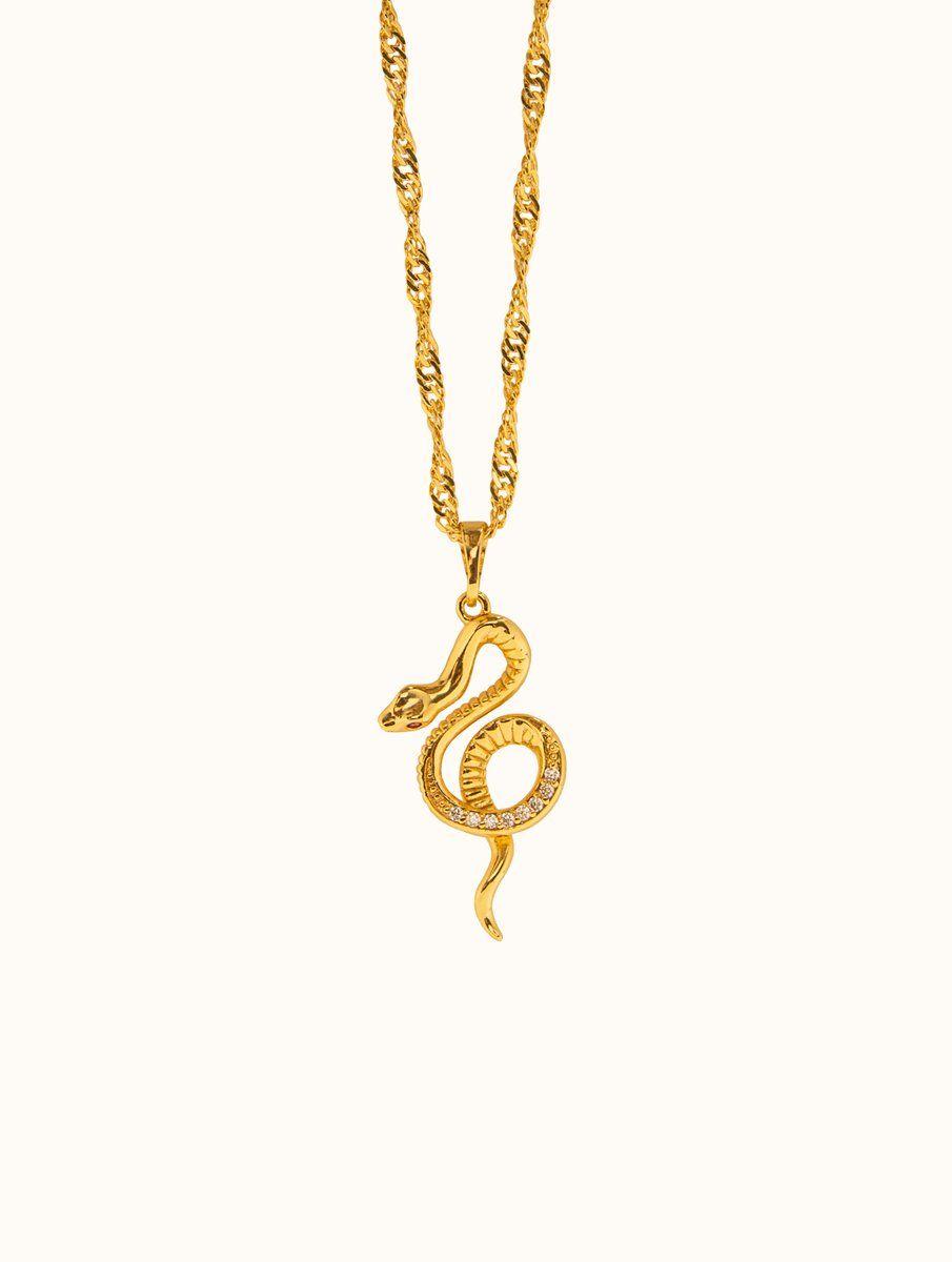 18K Gold Filled Snake Necklace