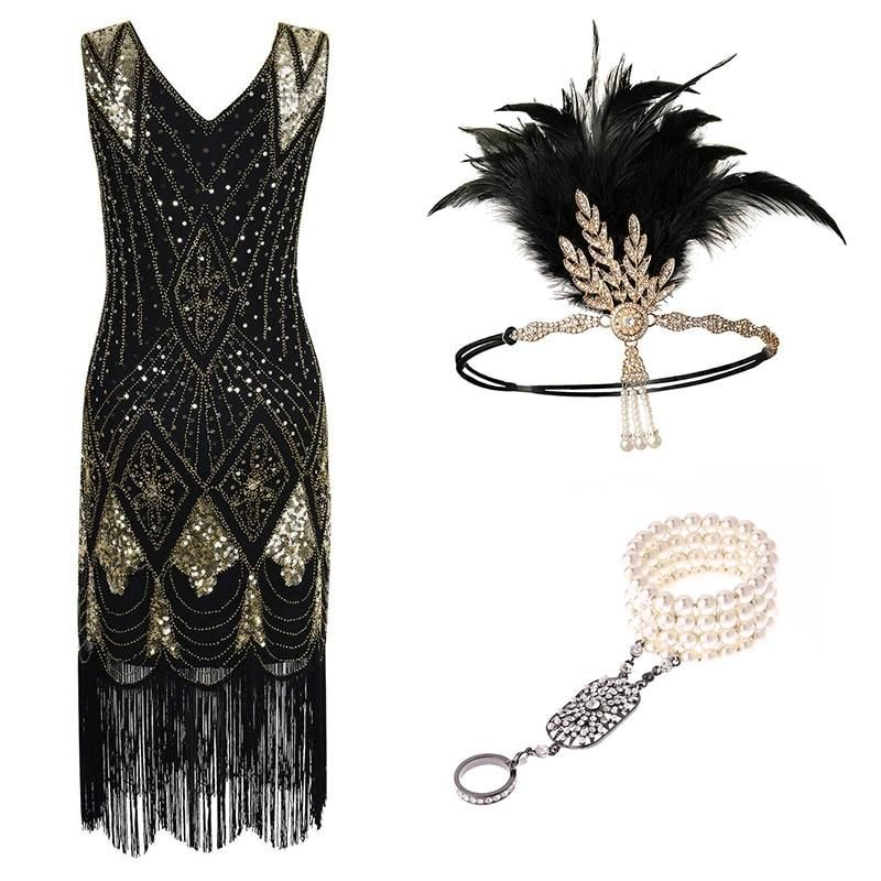 1920s Flapper Dress Great Gatsby Party Evening Sequins Fringed Dresses Gown – 1920S Accessories-A XL