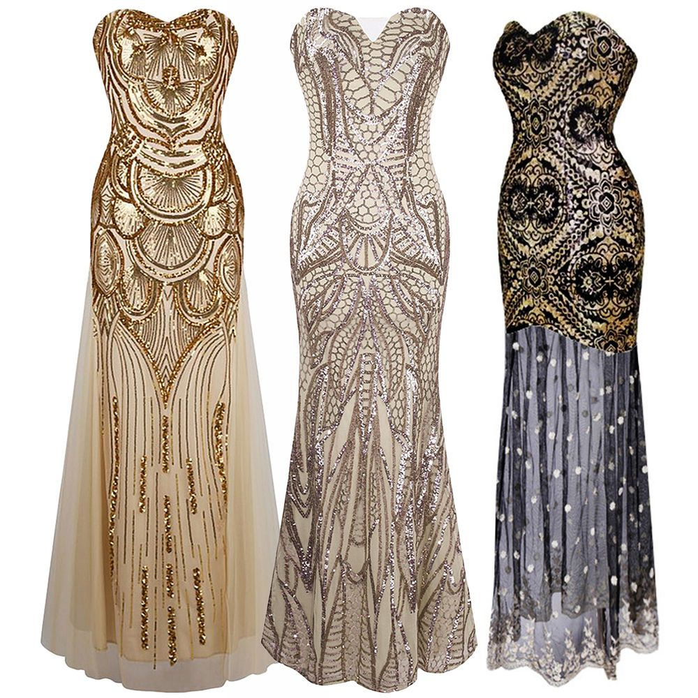 1920s Strapless Dress Deco Great Gatsby Vintage Sequin Cocktail Party Long Gown