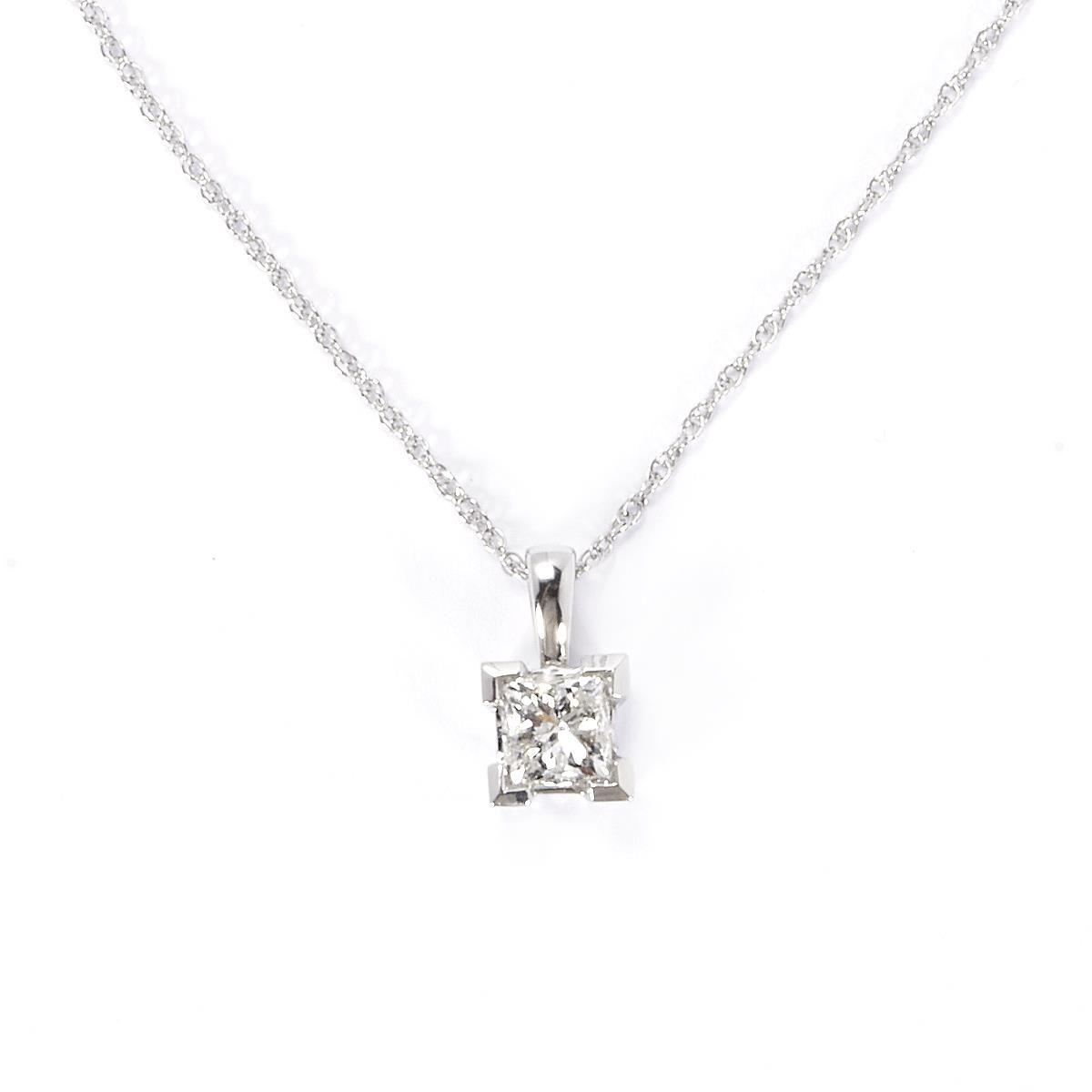 1ct Princess Cut Diamond 18k White Gold Pendant Necklace
