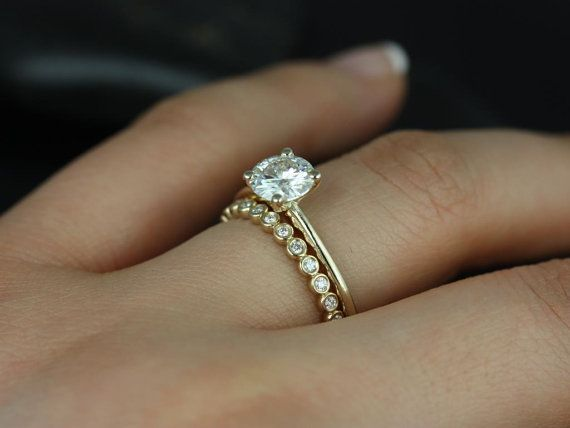 1ct Skinny Alberta 6.5mm & Petite Bubbles 14kt Gold Forever One Moissanite Diamonds Round Solitaire Wedding Set Rings,Rosados Box