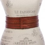 """2 7/8"""" (72mm) Wide High Waist Perforated Braided Leather Belt - Tan - CL12JR8FNQX"""
