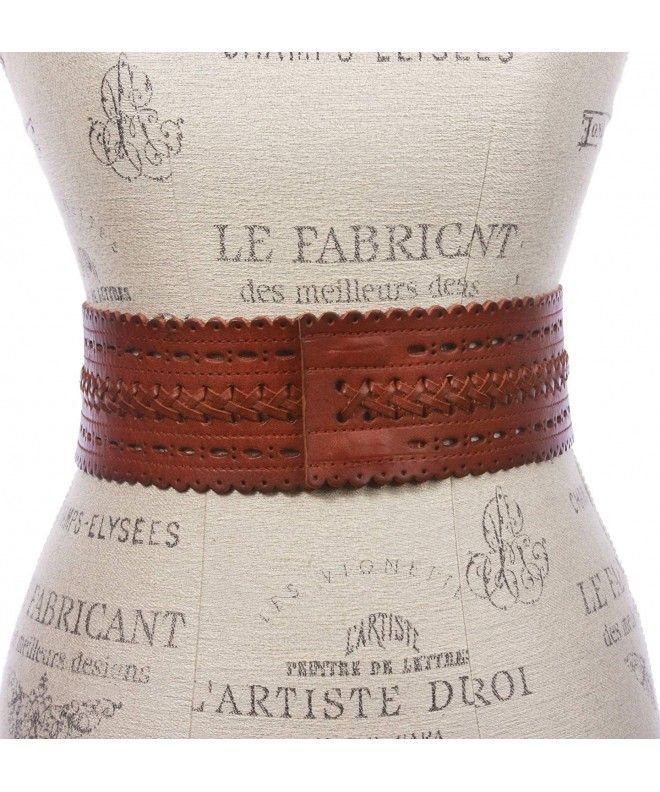 2 7/8″ (72mm) Wide High Waist Perforated Braided Leather Belt – Tan – CL12JR8FNQX