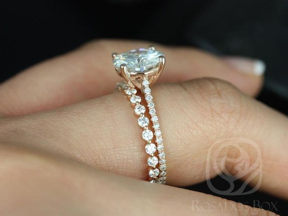 2.70ct Eloise 9mm & Petite Naomi 14kt Gold Forever One Moissanite Diamond Round Cathedral Solitaire Accent Wedding Set Rings,Rosados Box