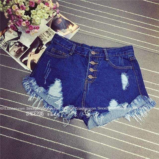 2016 European and American BF summer wind female blue high waist denim shorts wo