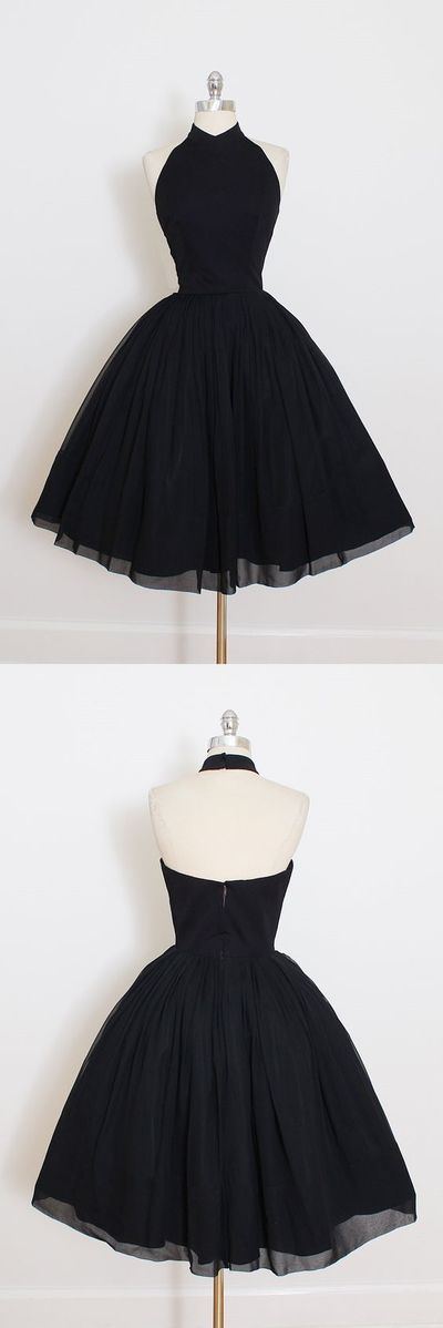 2017 Custom Made Black Chiffon Prom Dress,Halter Homecoming Dress,Short Mini Party Dress,YY66 from modern sky