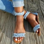 2017 Summer Hot Blue Distressed Denim Open Toe Sandals Ladies Fashion High Heels...