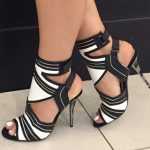 2017 Women s Fashion Summer New Sexy High Heel Sandals Thin Heel Black and White Gladiator Shoes
