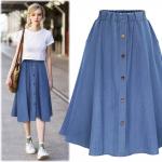 2017 summer women cute elastic waist denim jeans skirt ladies large plus size casual midi skirt female flare pleated buttons