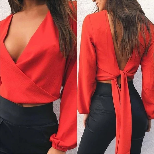2018 Spring Summer White Red Women Blouses Blusa Sexy V neck Backless Bow Chiffon Blouse Casual Long Sleeve Ladies Tops Shirts
