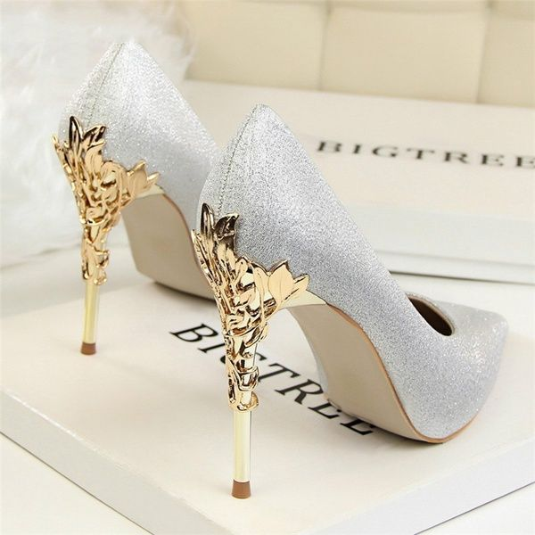 2018 new Women Pumps Heels Sexy High Heels Shoes Women Wedding Shoes Pumps Ladies Shoes Gold Silver Woman Thin Heel High Heel Shoes