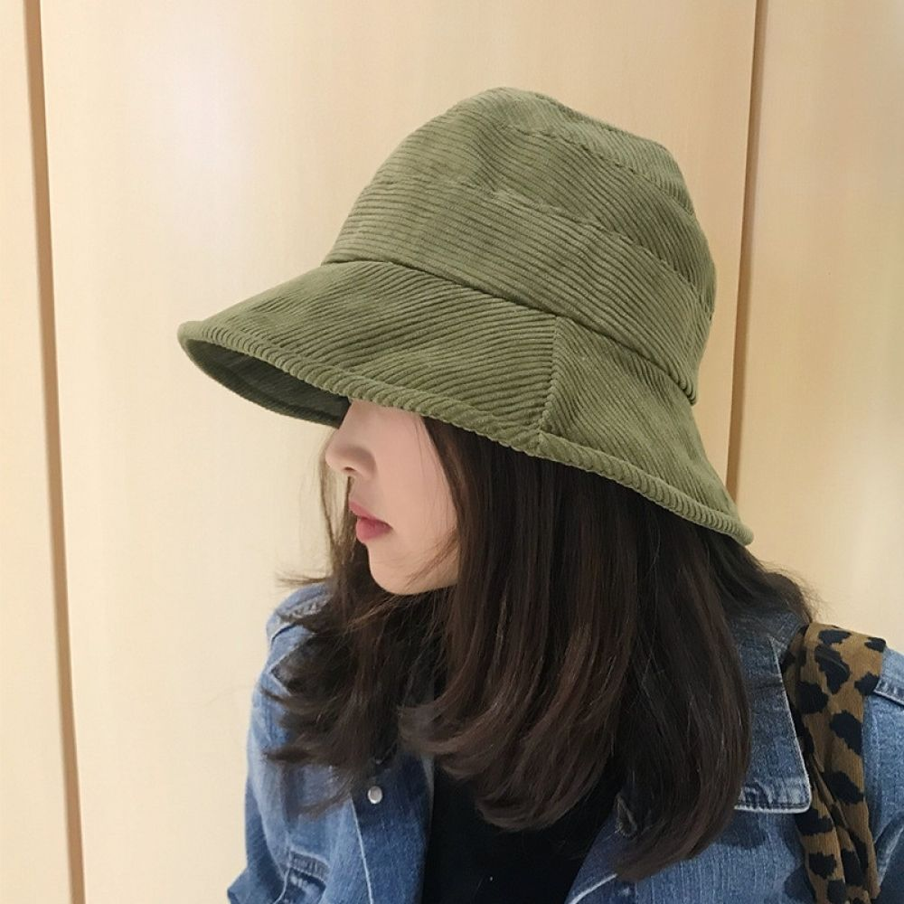 2019 Corduroy Tweed Bucket Hat Women Panama Winter Solid Japanese Streetwear Fol…