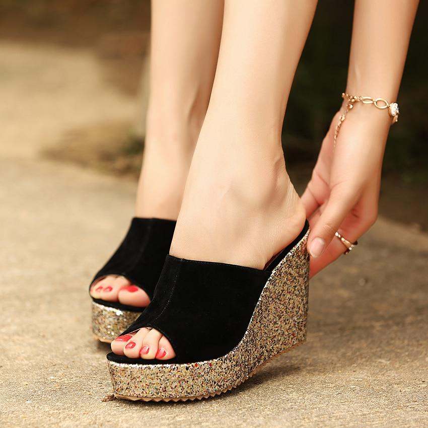 2019 Fashion Sequins High Heel Slippers Women Summer Shoes Suede Platform Sandals Ladies Wedges Sandals Flip Flops