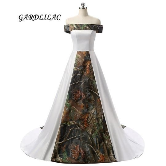 2019 New Fast Selling Off-Shoulder White Satin Camouflage Wedding Dress