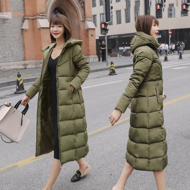 2019 Winter Women Jacket X-long Hooded Cotton Padded Female Coat High Quality Warm Outwear Womens Parka Manteau Femme Hiver – Blue XXL