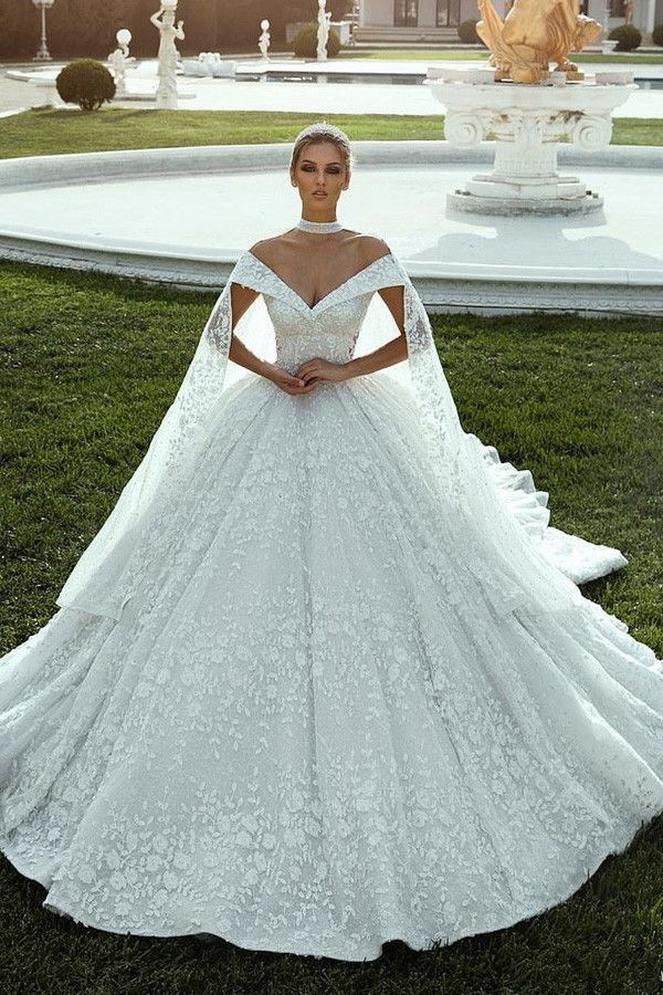 [235.20] Splendid Lace Off-the-shoulder Neckline Ball Gown Wedding Dresses With Lace Appliques & Beadings