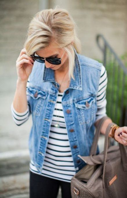 24+  Ideas How To Wear Denim Vest Outfits Spring