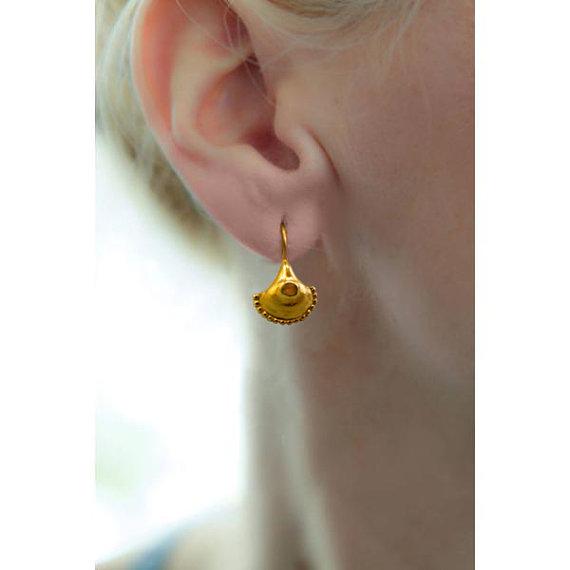 24K gold earrings, gold earring, unique earring, Greek jewelry, everyday earring, gold jewellery, Earrings Handmade Gold, gift for women
