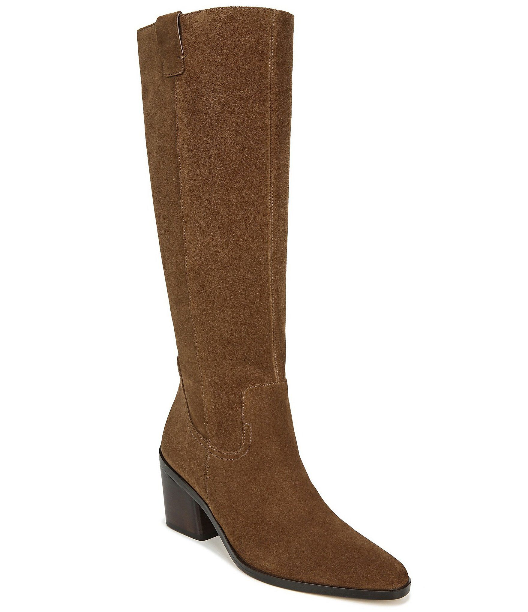 27 EDIT Bellamy Suede Tall Shaft Block Heel Boots – Chestnut Suede 10W