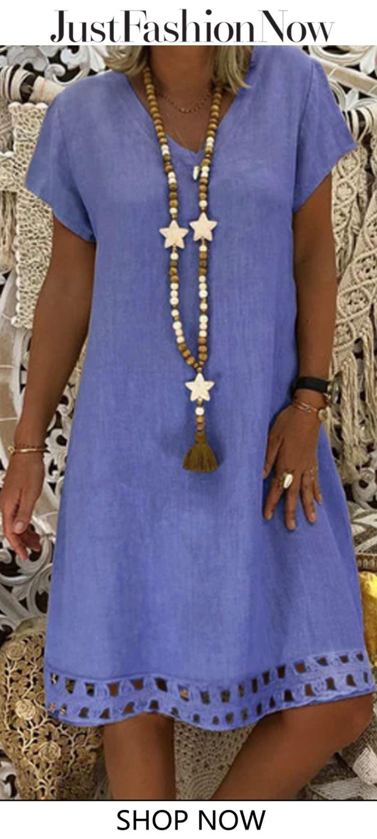 $27.99 V Neck Women Summer Dresses A-Line Casual Dresses