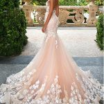 [292.00] Glamorous Tulle Jewel Neckline See-through Bodice Mermaid Wedding Dresses With Lace Appliques - magbridal.com.cn
