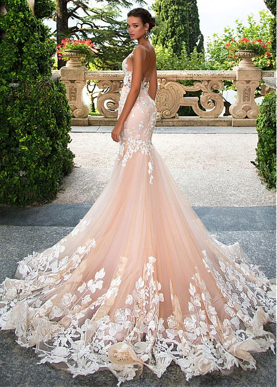 [292.00] Glamorous Tulle Jewel Neckline See-through Bodice Mermaid Wedding Dresses With Lace Appliques – magbridal.com.cn
