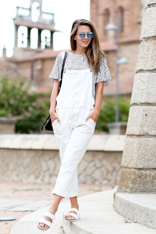 3 Le Fashion Blog 17 Ways To Wear White Overalls Mirrored Sunglasses White Birke…