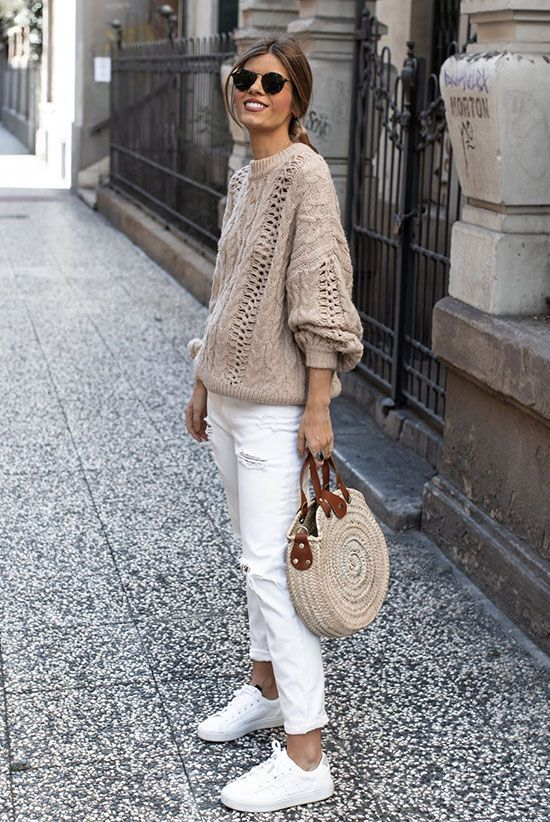 3 Successful Ways To Wear A Tan Sweater For Spring