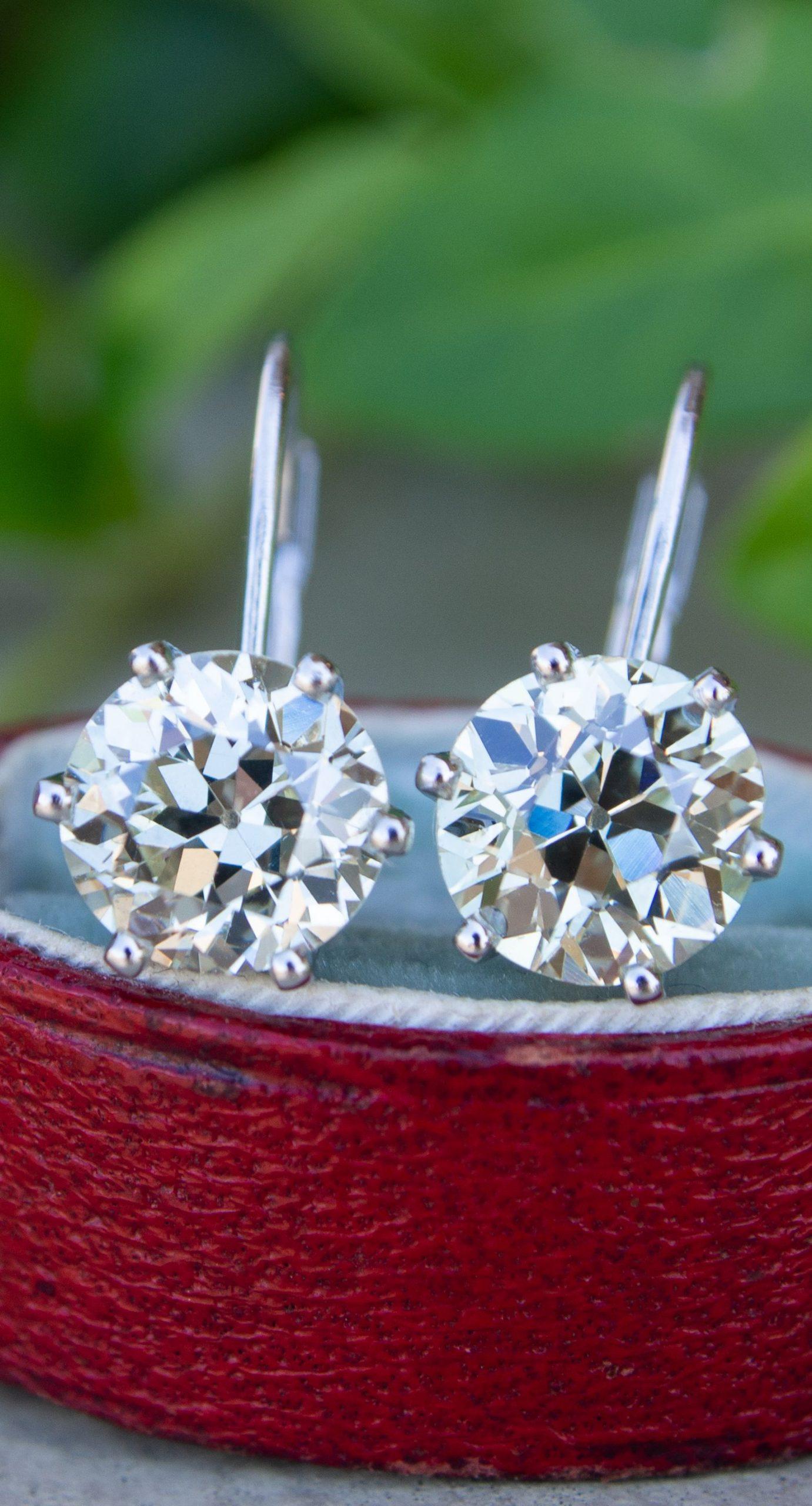 3 Total Carat Old European Cut Diamond Drop Earrings