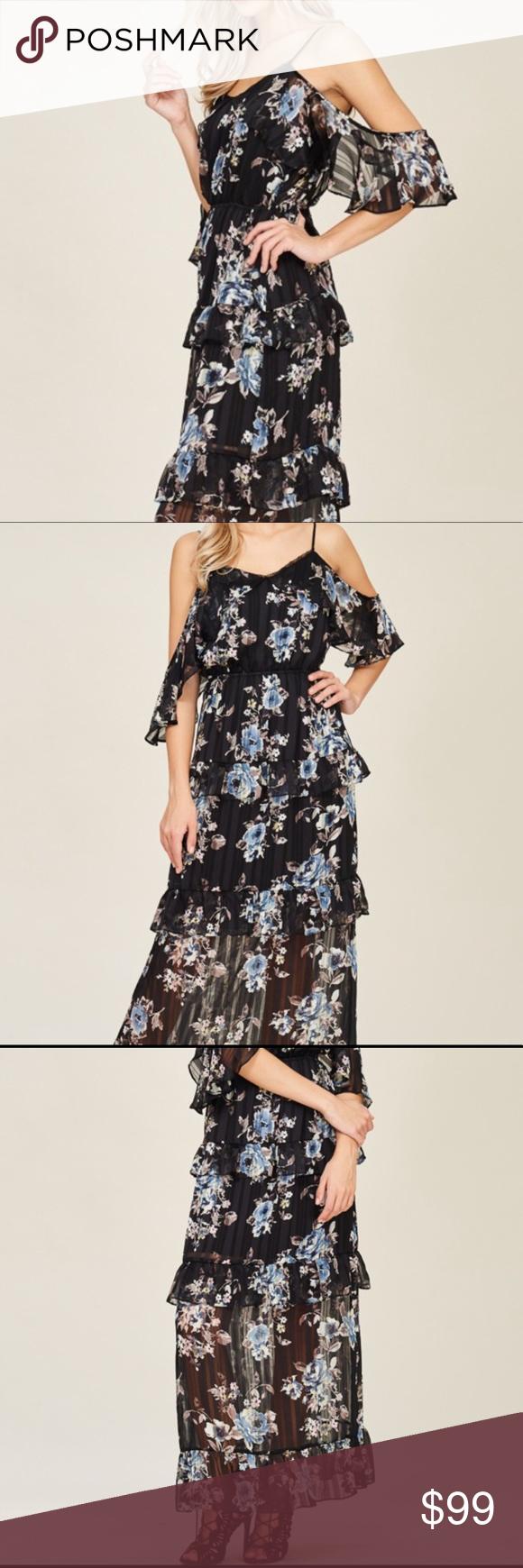 3 for $15 Black floral cold shoulder ruffle layer Black floral cold shoulder ruf…