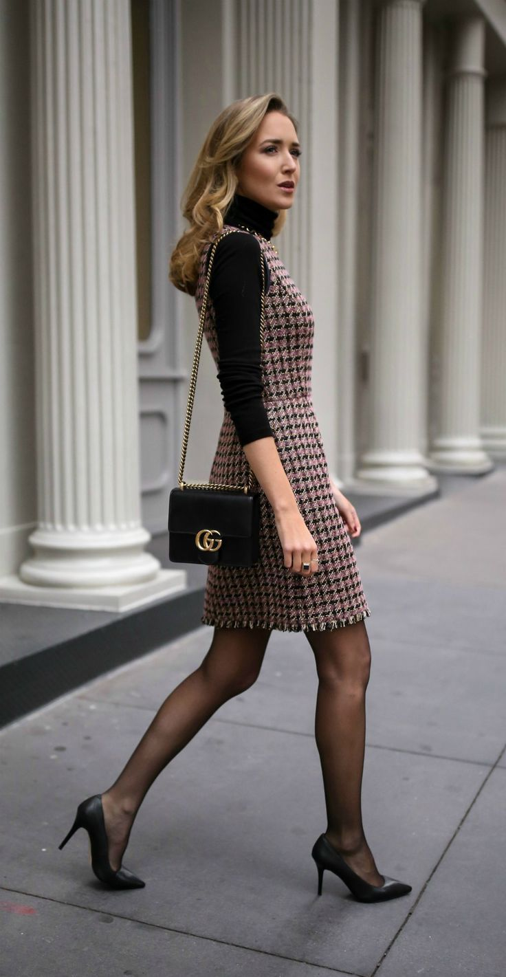 30 DRESSES IN 30 DAYS: Client Meeting //  Tweed fit and flare houndstooth dress,…