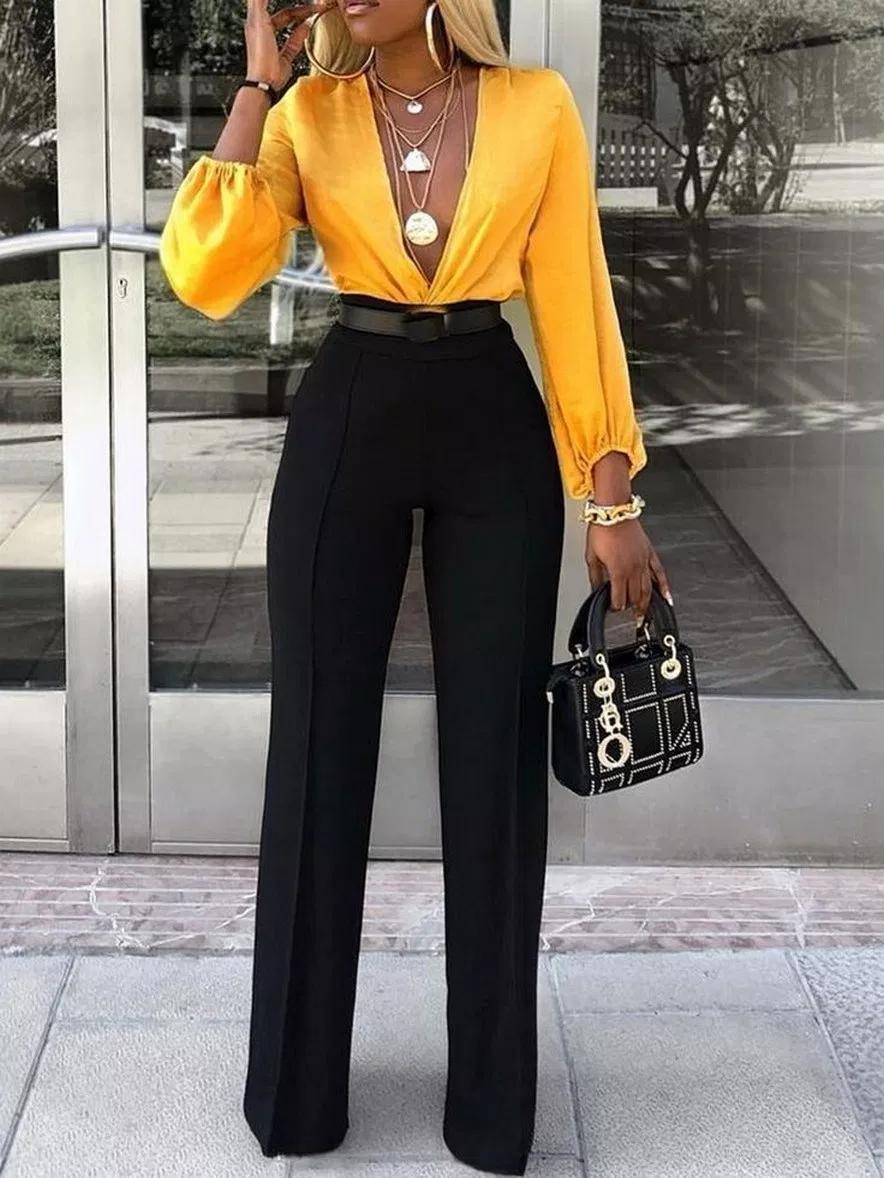 31+ newly summer fashion casual women wide leg pants loose slim solid sashesrric…