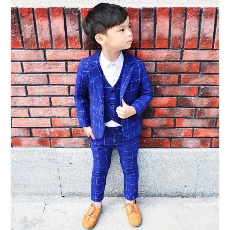 3pcs Kids Plaid Coat+Vest+Pants Boys Formal Wear