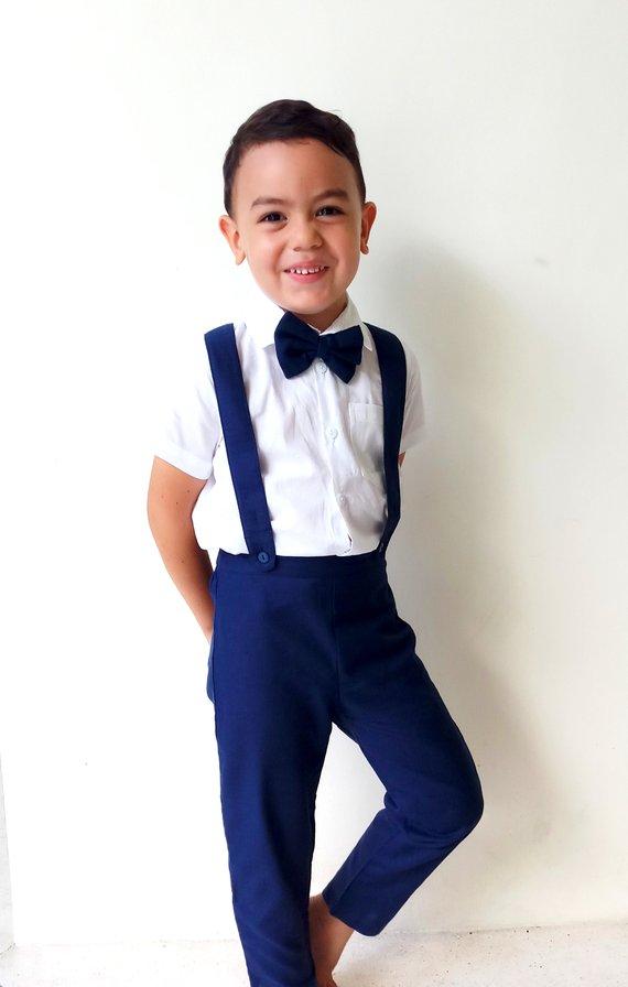 4 pcs. Boy Christening Outfit – Navy ,Suspender pants, Boy Linen Suit, Page Boy, Ring bearer, Baptis