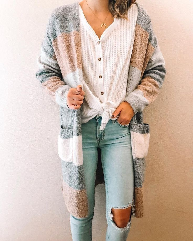 43 Awesome Summer Outfits Ideas With A Long Striped Cardigan You Must Have