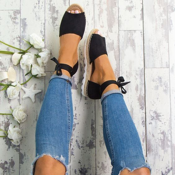 5 Colors 2018 Women Summer Platform Espadrilles Fashion Style Flip-flop Sandals Flat Womens Sandals Bandage Sandals Gladiator Sandalias