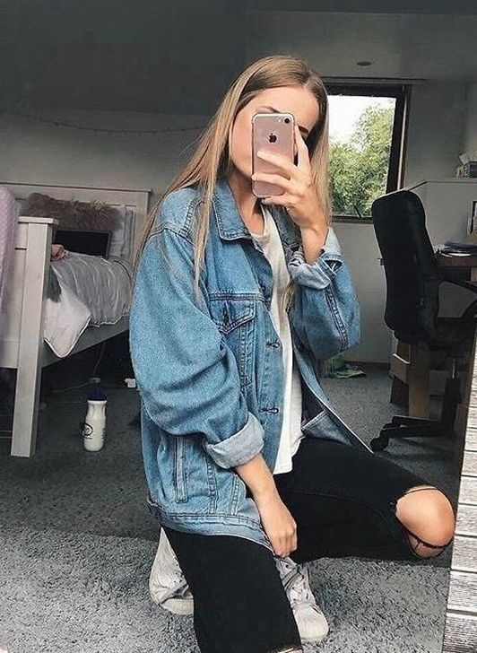 50 Simple Denim Jacket Outfits Ideas To Wear