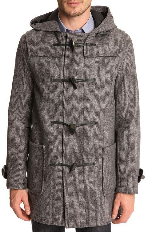 $522, Grey Duffle Coat: Gloverall Mid Grey Duffle Coat With Chevron Patterning. …