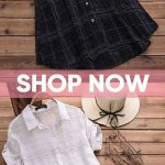 55% OFF! Vintage Plaid Short Sleeve Long Blouses for Women. White,Black fashion....