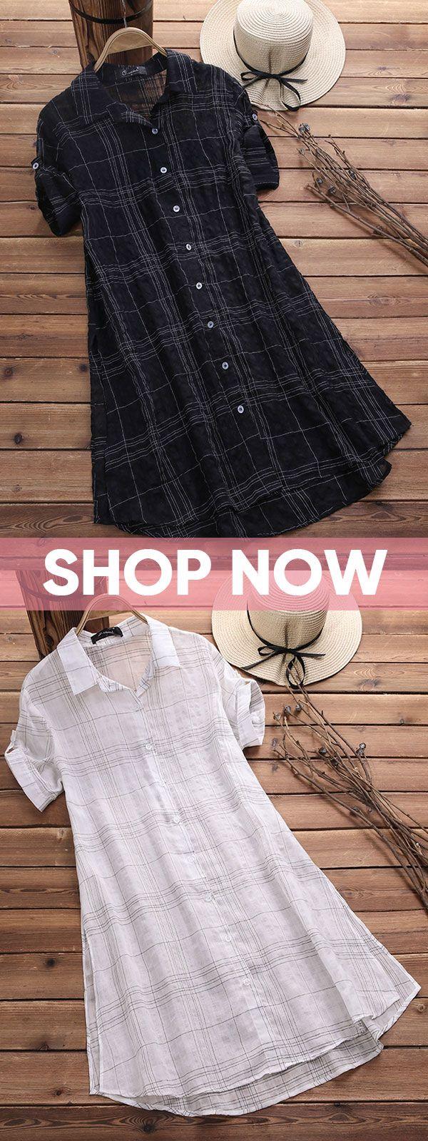 55% OFF! Vintage Plaid Short Sleeve Long Blouses for Women. White,Black fashion….