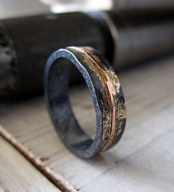 5mm 14K Rose Gold River Ring Gelbgold Splashes oxidiert Sterling Silber flache Kante einzigartige Mens Hochzeit Band OOAK Mens Ring Mann Verlobung