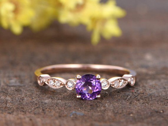 5mm Amethyst Engagement Ring Art Deco Unique Diamond Wedding Ring Rose Gold Solitaire Ring 14K